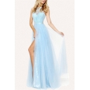 Pretty Womens Sheer Lace Panel Sleeveless Halter High Cut Maxi Pleated Smock Prom Dress in Blue