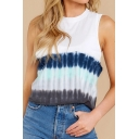 Casual Tie Dye Printed Sleeveless Crew Neck Regular Fit Tank Top for Ladies