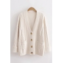 Fancy Womens Cable Knitted Long Sleeve V-neck Button up Pockets Side Loose Fit Cardigan in Beige