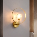 1-Light Wall Lighting Fixture Postmodern Living Room Sconce with Bowl Crystal Shade and Hoop in Gold