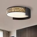 Simple Drum Flush Ceiling Light Prismatic Crystal 16