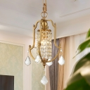 Traditional Urn Frame Drop Pendant 1-Head Crystal Drapes Hanging Ceiling Light in Gold