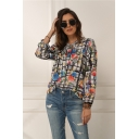 Gorgeous Womens All Over Print Plaids Tie Neck Long Sleeve Regular Fit Shirt