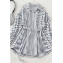 Fashion Womens Striped Pockets Button Down Belt Cold Shoulder Long Sleeve Loose Fit Tunic Shirt