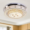 Cube Flush Mount Light Contemporary Faceted Glass Sleeping Room LED Ceiling Mounted Light with Round Shade