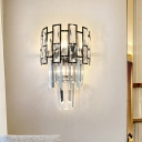 Modern 3-Tier Sconce Light Clear Crystal Glass 3 Lights Sitting Room Wall Mounted Lamp