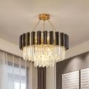 2-Tiered Drum Bedroom Hanging Lamp Modern Prismatic Crystal 9-Bulb Black Chandelier Light