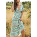 Boho Womens All over Floral Printed Short Sleeve V-neck Mid A-line Dress in Green