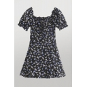 Trendy Womens Floral Printed Ruffle Trim Zip Side Tie Front Short Puff Sleeve Square Neck Short A-LIne Dress in Black