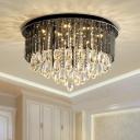 Drum Bedroom Flush Ceiling Light Modern Crystal 6/10-Light Black Flush Mount Fixture, 19.5