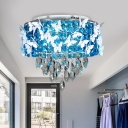 Clear/Amber Crystal Drum Ceiling Lamp Modern Stylish Bedroom LED Flushmount with Drapes and Butterfly, Warm/White Light