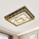 Nickel Finish Rectangular Ceiling Lamp Modern Beveled Cut Crystal Living Room LED Flush Mounted Light