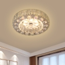 Blossom Small LED Flush Light Simplicity Nickel Crystal Close to Ceiling Lighting Fixture