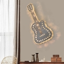 Guitar Shaped LED Flush Wall Sconce Modern Grey Crystal Encrusted Wall Mount Light