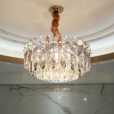 Tiered Hanging Pendant Light Modern Crystal Block 9 Heads Ceiling Chandelier in Smoke Gray/Champagne for Sleeping Room