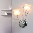 2 Lights Bedroom Wall Lighting Idea Modern Chrome Wall Lamp Fixture with Floral Clear Crystal Shade
