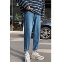 Light Blue Solid Color Guys Drop-Crotch Straight Leg Loose Fit Jeans
