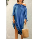 Leisure Womens Stringy Selvedge Off the Shoulder Bow Tied 3/4 Sleeve Solid Color Maxi Oversize Dress