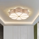 Faceted Crystal Bloom Flush Light Fixture Modern LED Close to Ceiling Lamp in Gold, 15.5