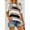 New Stylish Striped Print Half Sleeve One Cold Shoulder Slit Side High Low Loose Fit Asymmetric Tee for Womens