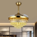 Dome 3 Blades Ceiling Light Modern Style Crystal Balls LED Gold Suspension Lighting Fixture, 42