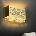 Gold Cuboid Flush Wall Sconce Postmodern Metal 2 Bulbs Dining Room Wall Light Kit with Crystal Fringe