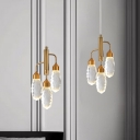 Capsule LED Pendant Lighting Modern Gold Faceted Cut Crystal Ceiling Hanging Light