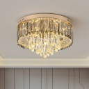 Drum Close to Ceiling Lighting Contemporary Clear Crystal LED Gold Flush Ceiling Light for Bedroom