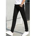 Men's Trendy Basic Simple Plain Slim Fitted Cotton Business Dress Pants