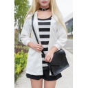 Trendy Stripe Printed Short Sleeve Round Neck Tunic Relaxed Tee Relaxed Shorts Jacket Three Pieces Set in White