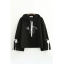 Harajuku Chinese Letter Cat Graphic Bow Tied Long Sleeve Drawstring Relaxed Fit Hoodie