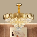 12 Heads Drawing Room Chandelier Light Modern Gold Pendant with Conical Crystal Shade