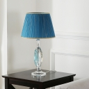 Blue 1-Light Table Lamp Traditional Pleated Fabric Barrel Shade Nightstand Light with Clear Crystal Base