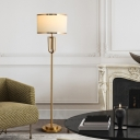 Gold Drum Shaped Floor Lamp Traditional Fabric 1 Bulb Living Room Standing Lighting with Open Cage