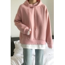 Fashionable Womens Long Sleeve Drawstring Contrasted Loose Fit Hoodie