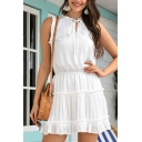 Fancy Plain Stringy Selvedge Sleeveless Tied Neck Ruffled Short Pleated A-line Dress