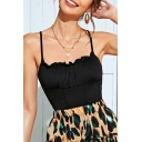 Chic Black Spaghetti Straps Ruched Slim Fit Cami Top for Ladies
