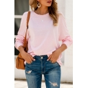 Leisure Womens Long Sleeve Crew Neck Loose Fit T Shirt in Pink