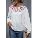 Ethnic Womens Floral Print Long Sleeve Tied Round Neck Cut out Loose Fit Shirt in White