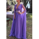 Special Occasion Purple Long Sleeve Deep V-neck Cut out Long Pleated A-line Dress with Belt