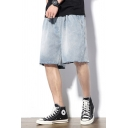 Stylish Jean Shorts Light Wash Raw Edge Pocket Zipper Fly Mid Rise Loose Fitted Jean Shorts for Men