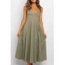 Popular Ladies Solid Color Spaghetti Straps Surplice Neck Bow Tied Back Mid Pleated A-line Slip Dress