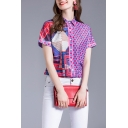Girls Chic Polka Dot Geo Pattern Short Sleeve Turn down Collar Button-up Relaxed Shirt in Purple
