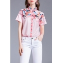 Vintage Ladies Crane Printed Short Sleeve Turn-down Collar Button up Relaxed Shirt Top
