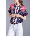 Retro Chain Flower Star Printed Short Sleeve Spread Collar Button-up Regular Fit Shirt Top in Blue