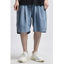 Casual Shorts Solid Color Applique Pocket Drawstring Mid Rise Loose Fitted Shorts for Men