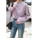 Casual Girls Solid Color Long Sleeve Tied Front Stand Collar Loose Shirt
