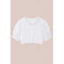 Cute Girls Stringy Selvedge Short Sleeve Crew Neck Button up Relaxed Crop Shirt Top in White