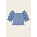 Pretty Ladies Puff Sleeve Square Neck Button-up Stringy Selvedge Regular Fit Crop Blouse Top