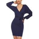 Elegant Ladies Solid Color Knitted Blouson Sleeve Surplice Neck Bow Tied Waist Short Bodycon Dress
